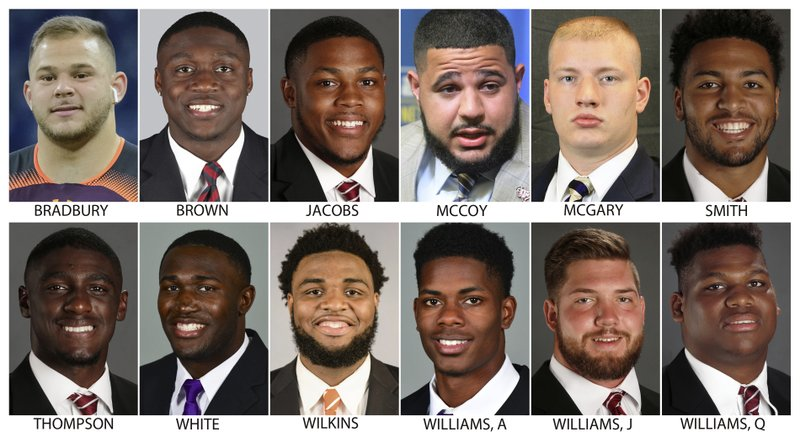 These photos provided by their respective schools shows prospects in the 2019 NFL Draft. Top row from left are: Garrett Bradbury, N. (AP Photo)