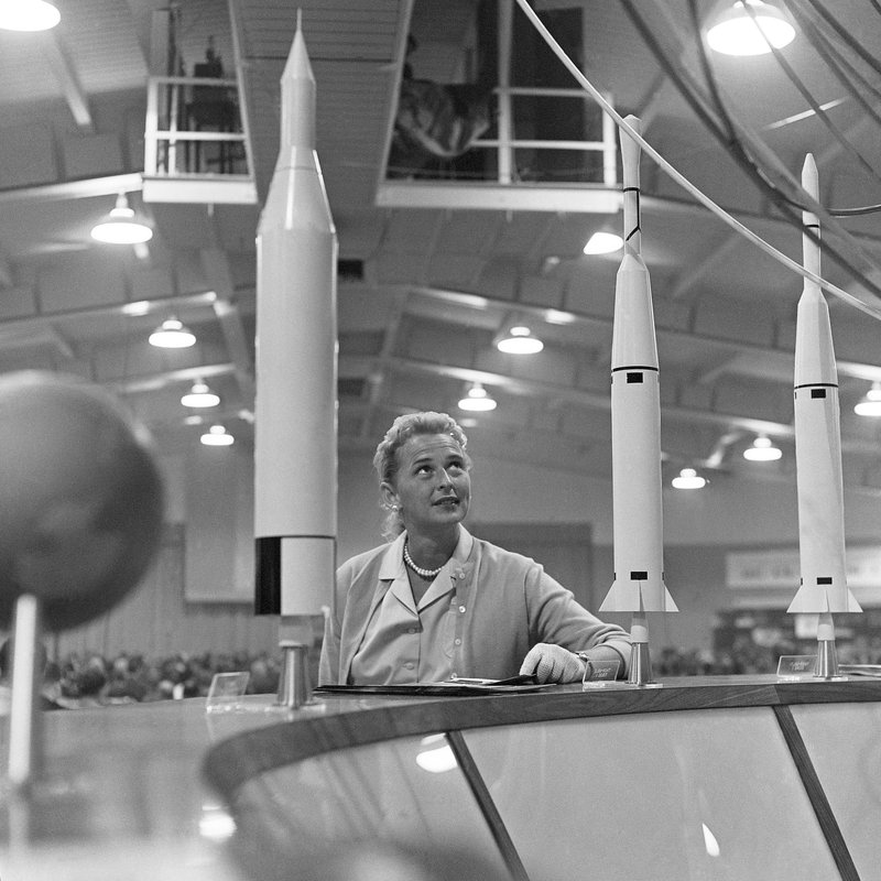 FILE - This May 26, 1961 file photo shows Jerrie Cobb, the nation's first female astronaut candidate, with a display of rockets at a national conference where the leading space experts gathered in Tulsa, Okla. (AP Photo/William P. Straeter)