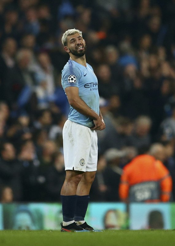 Manchester City's Sergio Aguero reacts after the final whistle for them to be defeated on away goals and knocked out after the Champions League quarterfinal, second leg, soccer match between Manchester City and Tottenham Hotspur at the Etihad Stadium in Manchester, England, Wednesday, April 17, 2019. (AP Photo/Dave Thompson)
