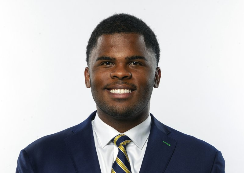 This photo provided by Notre Dame Football shows Jerry Tillery. Tillery is a possible pick in the 2019 NFL Draft.(Notre Dame Football via AP)