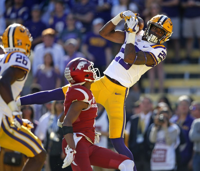FILE - In this Nov. 11, 2017, file photo, LSU cornerback Andraez