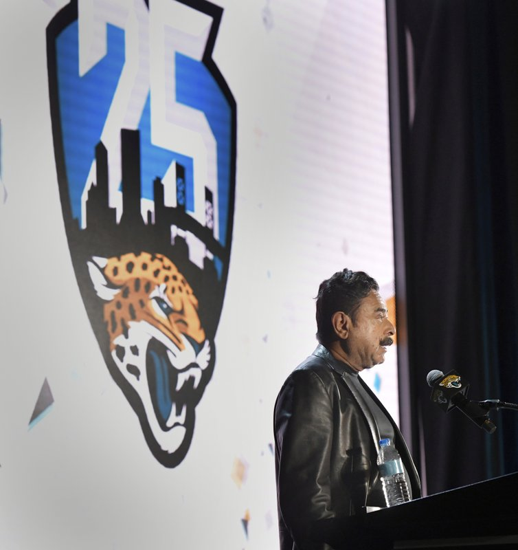 Jacksonville Jaguars owner Shahid Khan speaks during the NFL football team's annual State of the Franchise presentation Thursday, April 18, 2019 at TIAA Bank Field in Jacksonville, Fla. (Will Dickey/The Florida Times-Union via AP)