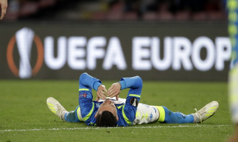 Napoli's Jose Callejon reacts during the Europa League second leg quarterfinal soccer match between Napoli and Arsenal at San Paolo stadium in Naples, Italy, Thursday, April 18, 2019. (AP Photo/Luca Bruno)