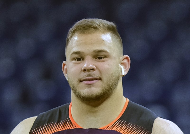 FILE - Ijn this Feb. 28, 2019, file photo, NC State offensive lineman Garrett Bradbury participates in a drill during the NFL football scouting combine in Indianapolis. (AP Photo/AJ Mast, File)