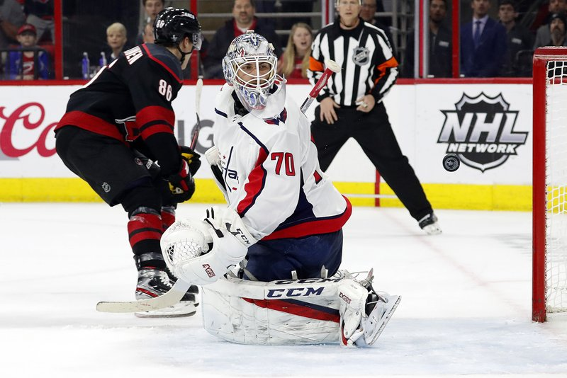 Washington Capitals goaltender Braden Holtby (70) looks back at the puck after Carolina Hurricanes' Teuvo Teravainen (86), of Finland, scored during the second period of Game 4 of an NHL hockey first-round playoff series in Raleigh, N. (AP Photo/Karl B DeBlaker)