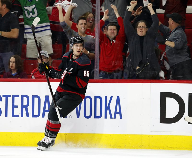 Carolina Hurricanes' Teuvo Teravainen, of Finland, reacts after scoring a goal against the Washington Capitals during the second period of Game 4 of an NHL hockey first-round playoff series in Raleigh, N. (AP Photo/Karl B DeBlaker)