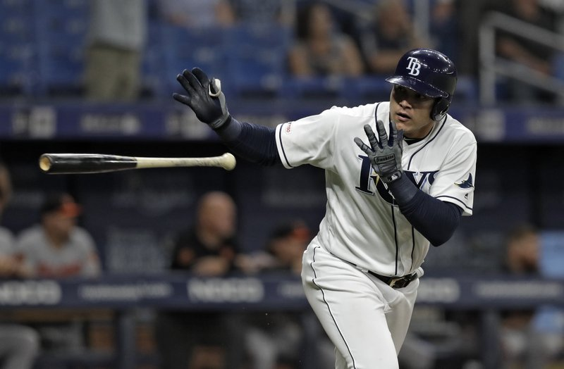 Tampa Bay Rays' Avisail Garcia flips his bat after hitting a home run off Baltimore Orioles relief pitcher Mychal Givens during the ninth inning of a baseball game Thursday, April 18, 2019, in St. (AP Photo/Chris O'Meara)