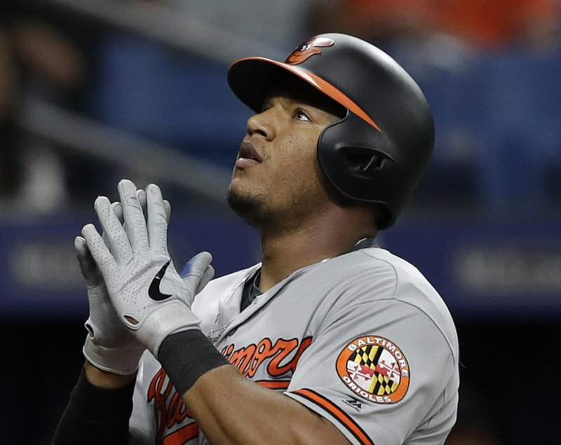 Baltimore Orioles' Pedro Severino celebrates as he crosses home plate after his home run off Tampa Bay Rays relief pitcher Jalen Beeks during the fourth inning of a baseball game Thursday, April 18, 2019, in St. (AP Photo/Chris O'Meara)