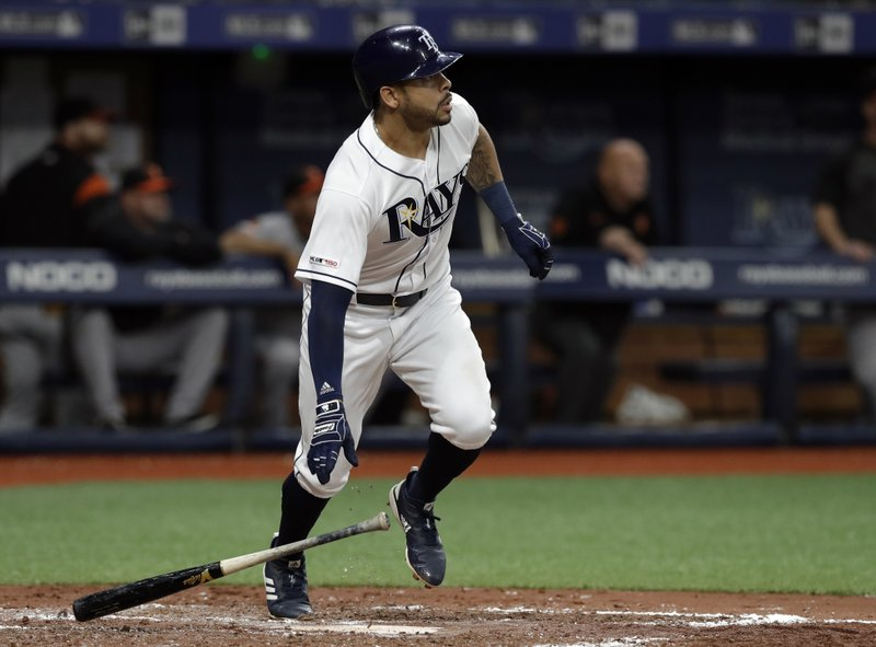 Tampa Bay Rays' Tommy Pham watches his home run off Baltimore Orioles starting pitcher Andrew Cashner during the third inning of a baseball game Thursday, April 18, 2019, in St. (AP Photo/Chris O'Meara)