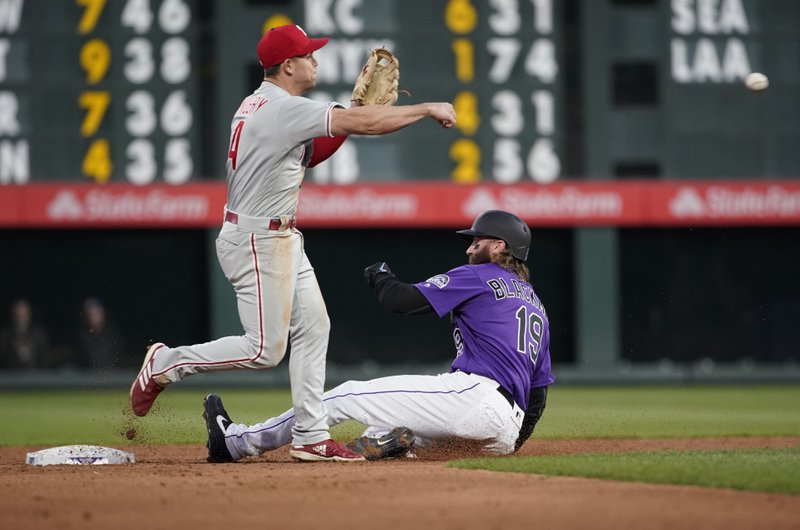 Philadelphia Phillies second baseman Scott Kingery throws to first after forcing out Colorado Rockies' Charlie Blackmon (19) during the third inning of a baseball game Thursday, April 18, 2019, in Denver. (AP Photo/Jack Dempsey)