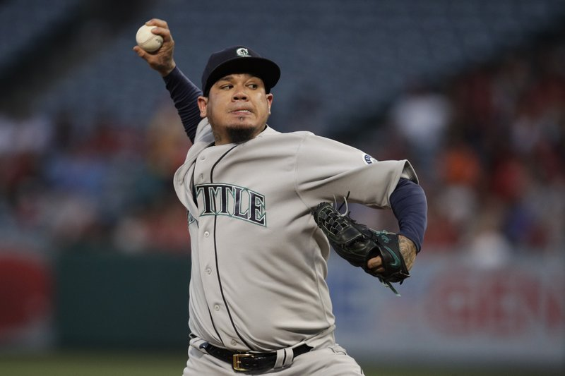 Seattle Mariners starting pitcher Felix Hernandez throws to a Los Angeles Angels batter during the first inning of a baseball game Thursday, April 18, 2019, in Anaheim, Calif. (AP Photo/Jae C. Hong)