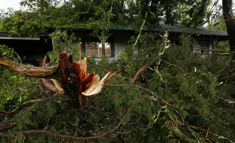 Ripped tree branches litter a Learned, Miss., home, following severe weather that hit the small community, Thursday, April 18, 2019. (AP Photo/Rogelio V. Solis)