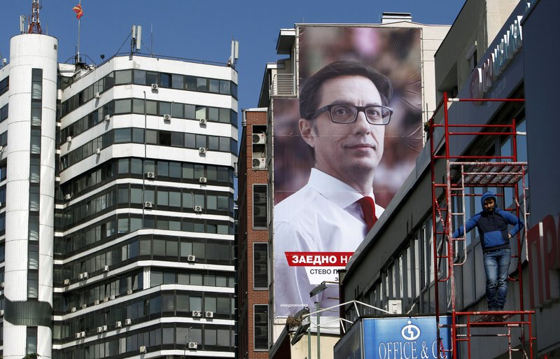 A campaign poster of Stevo Pendarovski, a presidential candidate of the ruling coalition led by the Social-democrats, reading in Macedonian