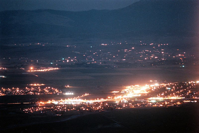 FILE - This July 22, 1999 photo shows lights along Highway 395 in Minden, Nev. A Democratic leader in rural Nevada says she's tired of presidential candidates saying it's too costly and time-consuming to visit far-flung towns. (Rick Gunn/Nevada Appeal via AP, File)