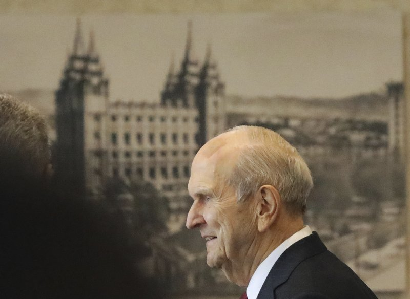 The Church of Jesus Christ of Latter-day Saints President Russell M. Nelson departs after a news conference at the Temple Square South Visitors Center Friday, April 19, 2019, in Salt Lake City. (AP Photo/Rick Bowmer)