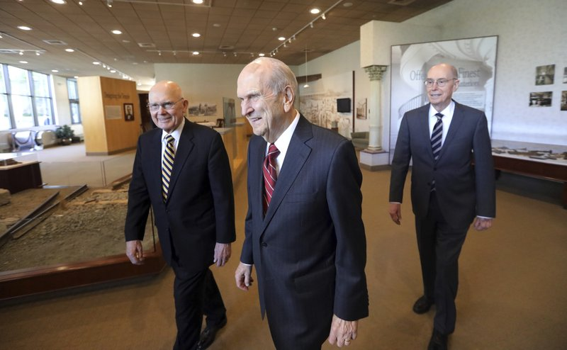 The Church of Jesus Christ of Latter-day Saints President Russell M. Nelson, center, walks with his counselors, Dallin H. (AP Photo/Rick Bowmer)