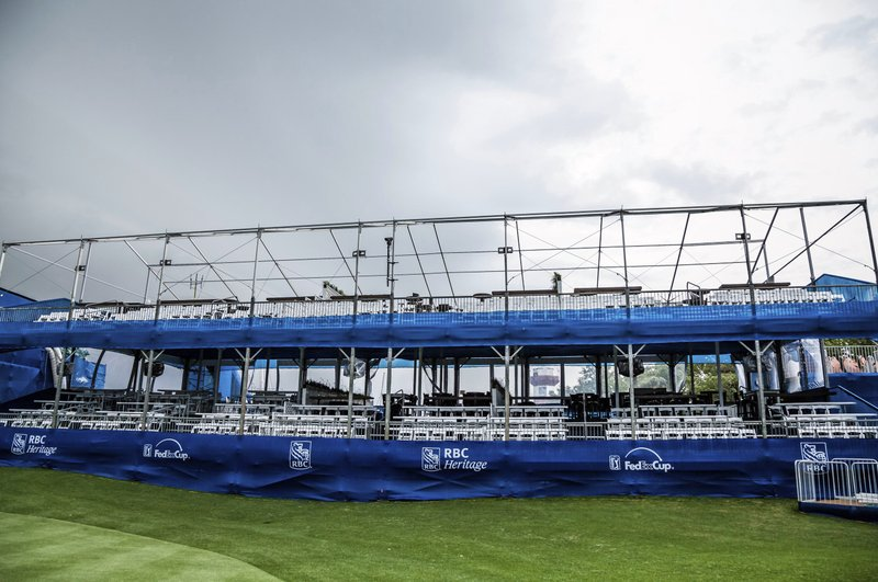 The roof was removed from the stands at the 18th hole to prevent damage as severe weather rolled in during the second round of the RBC Heritage golf tournament in Hilton Head Island, S. (Scott Schroeder/The Island Packet via AP)