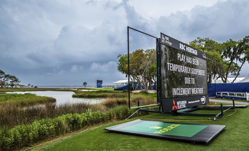 Play is suspended as severe weather rolled in during the second round of the RBC Heritage golf tournament in Hilton Head Island, S. (Scott Schroeder/The Island Packet via AP)