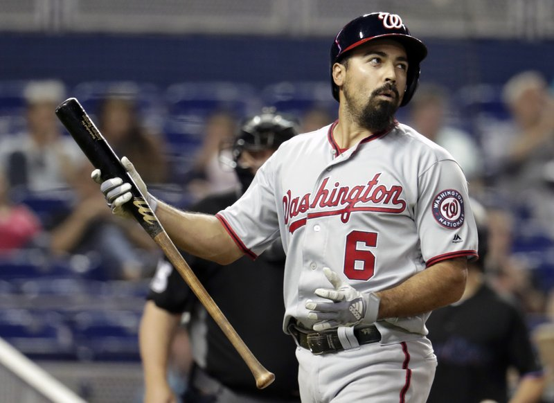 Washington Nationals' Anthony Rendon reacts after striking out during the first inning of a baseball game against the Miami Marlins, Friday, April 19, 2019, in Miami. (AP Photo/Lynne Sladky)