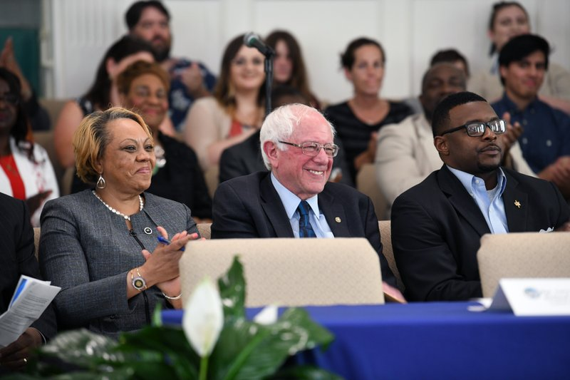 Sen. Bernie Sanders takes the stage ahead of a town hall with black lawmakers on Thursday, April 18, 2019, in Spartanburg, S. (AP Photo/Meg Kinnard)