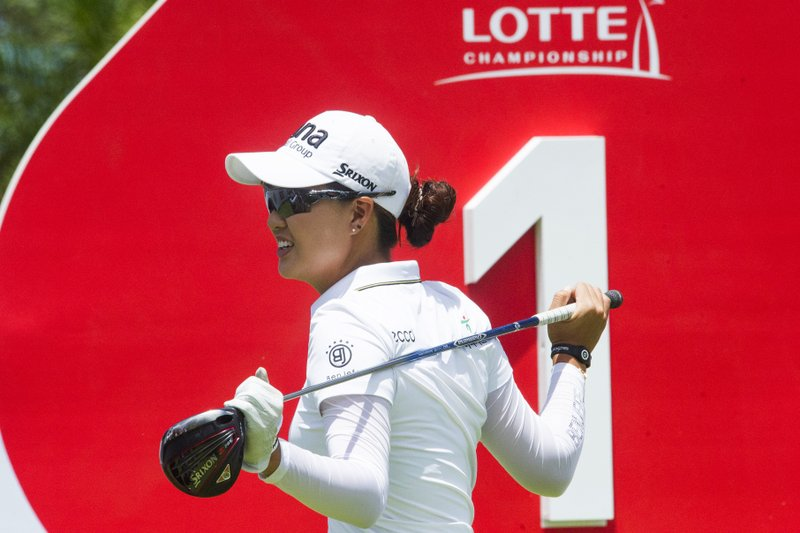 Minjee Lee gets ready to tee off on the first hole during the third round of the LPGA Tour's Lotte Championship golf tournament Friday, April 19, 2019, in Kapolei, Hawaii. (Craig T. Kojima/Honolulu Star-Advertiser via AP)