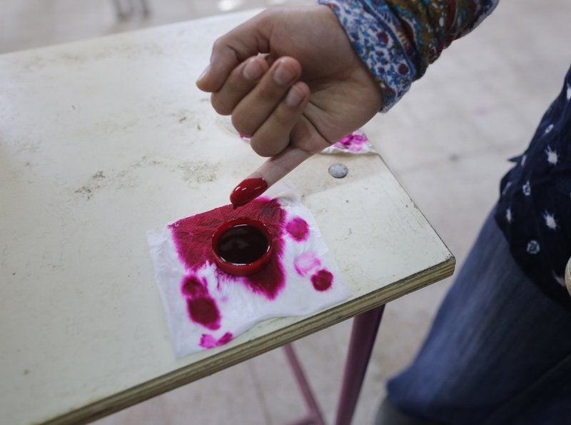 A voter dips her finger in ink during the first day of three-day voting on constitutional amendments in Cairo, Egypt, Saturday, April 20, 2019. (AP Photo/Amr Nabil)