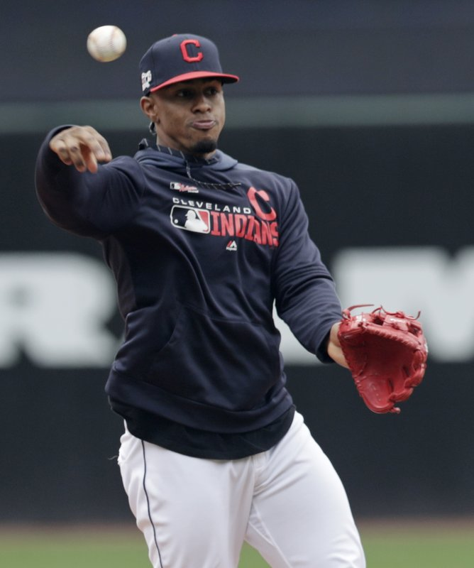 Cleveland Indians' Francisco Lindor throws to first base during batting practice before the first game of a baseball doubleheader against the Atlanta Braves, Saturday, April 20, 2019, in Cleveland. (AP Photo/Tony Dejak)