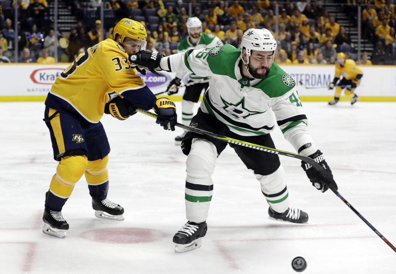 Nashville Predators left wing Viktor Arvidsson (33), of Sweden, and Dallas Stars defenseman Roman Polak (45), of the Czech Republic, battle for the puck during the second period in Game 5 of an NHL hockey first-round playoff series Saturday, April 20, 2019, in Nashville, Tenn. (AP Photo/Mark Humphrey)