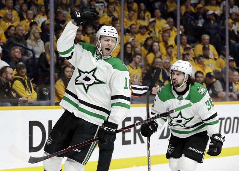Dallas Stars center Jason Dickinson (16) celebrates after scoring a goal against the Nashville Predators during the first period in Game 5 of an NHL hockey first-round playoff series Saturday, April 20, 2019, in Nashville, Tenn. (36), of Norway. (AP Photo/Mark Humphrey)
