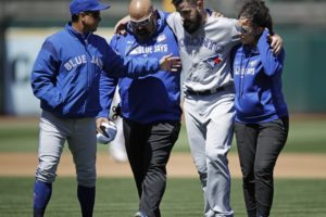 Blue Jays put RHP Shoemaker on injured list with knee sprain