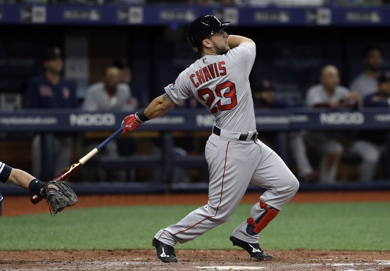 Boston Red Sox's Michael Chavis follows through on a double off Tampa Bay Rays relief pitcher Jose Alvarado during the ninth inning of a baseball game Saturday, April 20, 2019, in St. (AP Photo/Chris O'Meara)