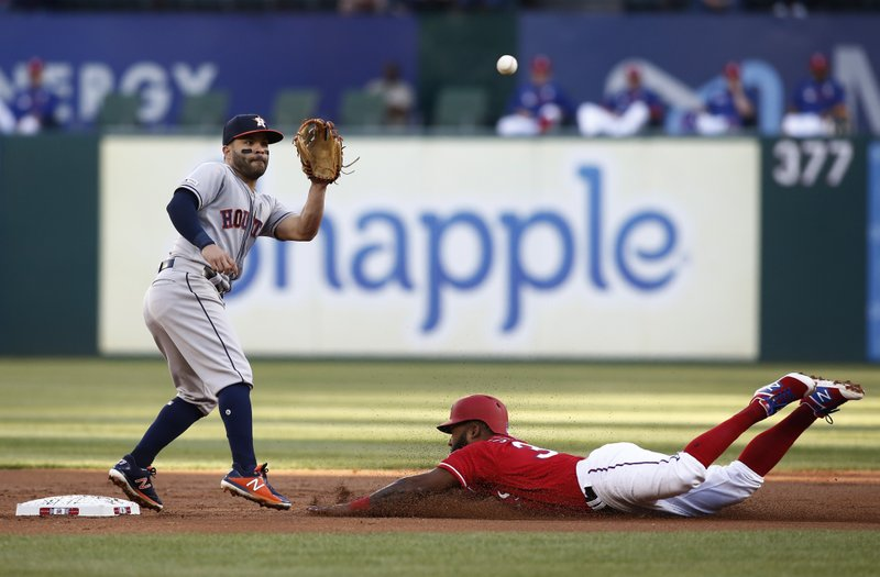 Texas Rangers' Danny Santana, right,steals second base ahead of the tag by Houston Astros second baseman Jose Altuve, left, during the first inning of a baseball game Saturday, April 20, 2019, in Arlington, Texas. (AP Photo/Mike Stone)