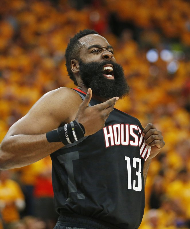 Houston Rockets guard James Harden (13) reacts after a foul in the first half during an NBA basketball game against the Utah Jazz Saturday, April 20, 2019, in Salt Lake City. (AP Photo/Rick Bowmer)