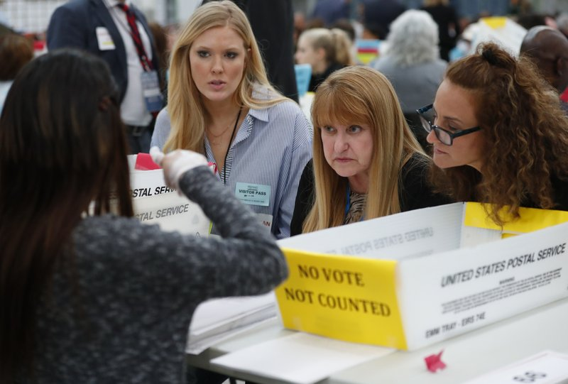 FILE - In this Nov. 16, 2018 file photo, a worker, left, at the Broward County Supervisor of Elections office shows Republican and Democrat observers ballots during a hand recount in Lauderhill, Fla. (AP Photo/Wilfredo Lee, File)