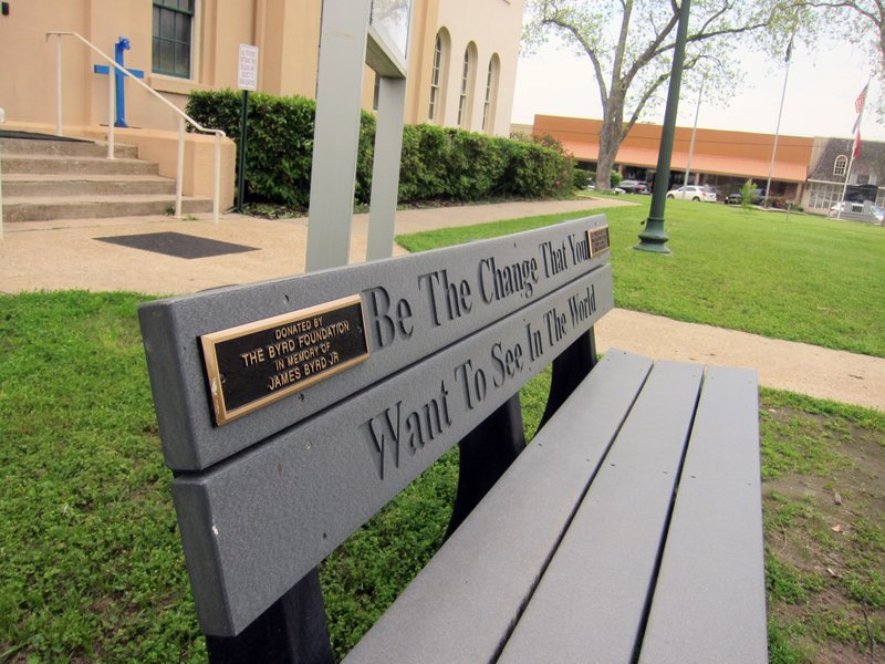 This April 12, 2019, photo shows a bench donated by a foundation started by the family of James Byrd Jr. (AP Photo/Juan Lozano)