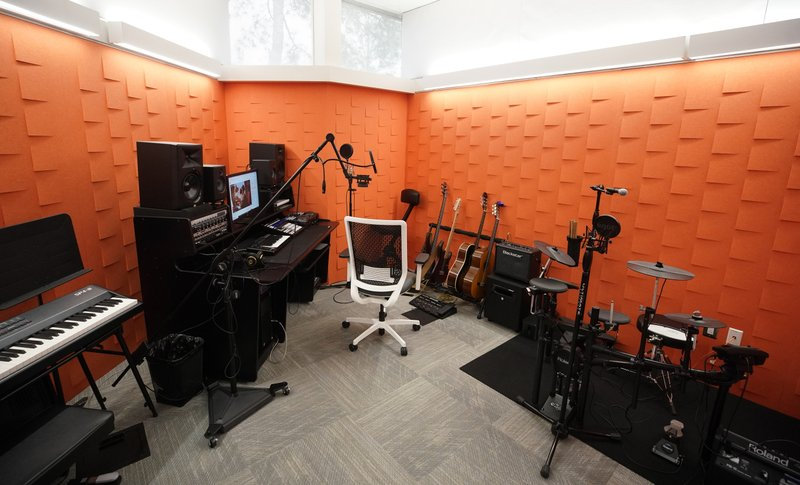 This April 3, 2019, photo shows music studio in TECHLink at the Scenic Woods Regional Library in Houston. (Melissa Phillip/Houston Chronicle via AP)