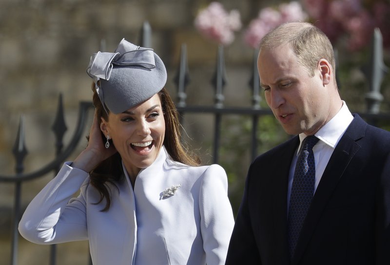 Britain's Prince William and Kate, The Duchess of Cambridge arrive to attend the Easter Mattins Service at St. (AP Photo/Kirsty Wigglesworth, pool)