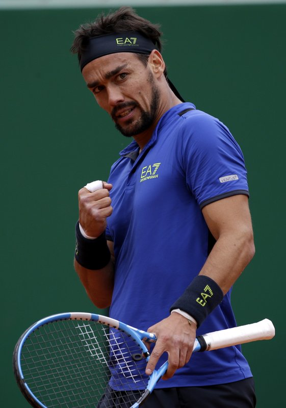 Italy's Fabio Fognini celebrates after winning a point against Serbia's Dusan Lajovic during the men's singles final match of the Monte Carlo Tennis Masters tournament in Monaco, Sunday, April, 21, 2019. (AP Photo/Claude Paris)