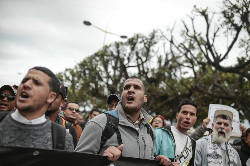 Moroccans chant slogans as they take part in a demonstration in Rabat, Morocco, Sunday, April 21, 2019. (AP Photo/Mosa'ab Elshamy)