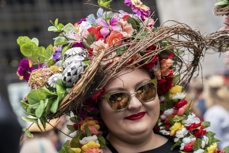 A costumed participant marches during the Easter Parade and Bonnet Festival, Sunday, April 21, 2019, in New York. (AP Photo/Jeenah Moon)
