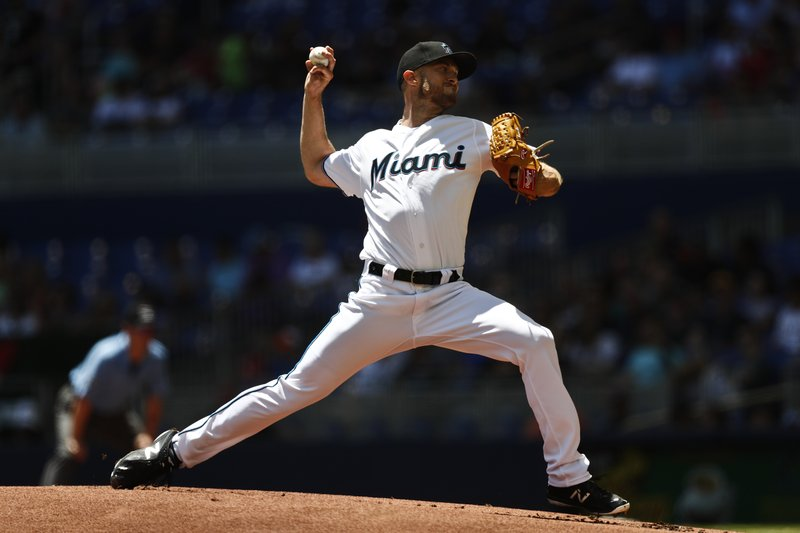 Miami Marlins starting pitcher Trevor Richards delivers during the first inning of a baseball game against the Washington Nationals on Sunday, April 21, 2019, in Miami. (AP Photo/Brynn Anderson)