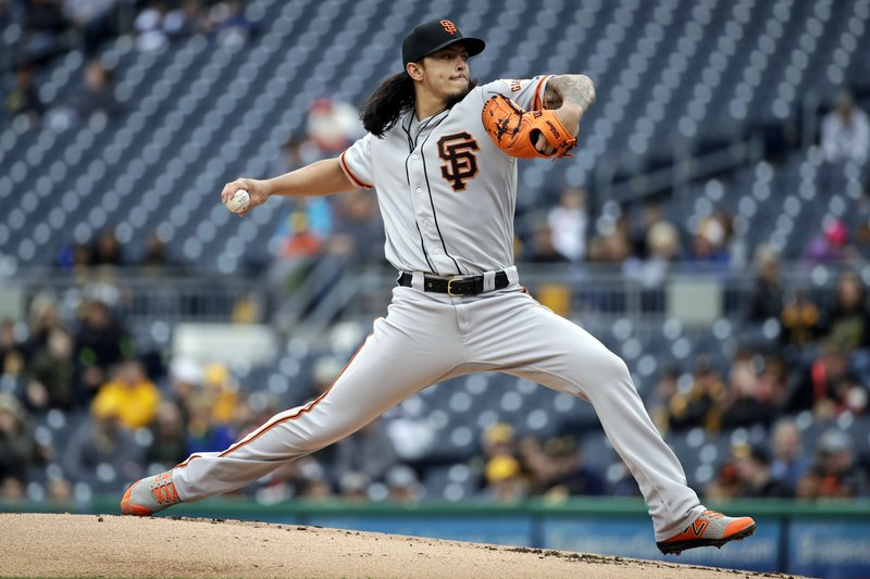 San Francisco Giants starting pitcher Dereck Rodriguez delivers in the first inning of a baseball game against the Pittsburgh Pirates in Pittsburgh, Sunday, April 21, 2019. (AP Photo/Gene J. Puskar)