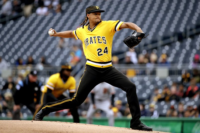 Pittsburgh Pirates starting pitcher Chris Archer delivers in the first inning of a baseball game against the San Francisco Giants in Pittsburgh, Sunday, April 21, 2019. (AP Photo/Gene J. Puskar)