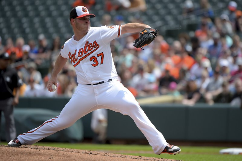 Baltimore Orioles starting pitcher Dylan Bundy delivers a pitch in the first inning of a baseball game against the Minnesota Twins, Sunday, April 21, 2019, in Baltimore. (AP Photo/Will Newton)