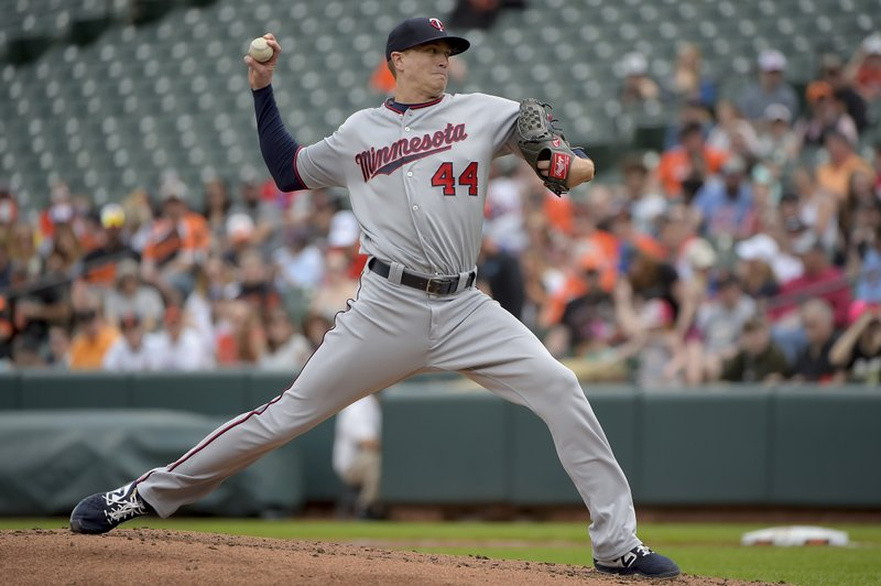 Minnesota Twins starting pitcher Kyle Gibson delivers a pitch in the first inning of a baseball game against the Baltimore Orioles, Sunday, April 21, 2019, in Baltimore. (AP Photo/Will Newton)