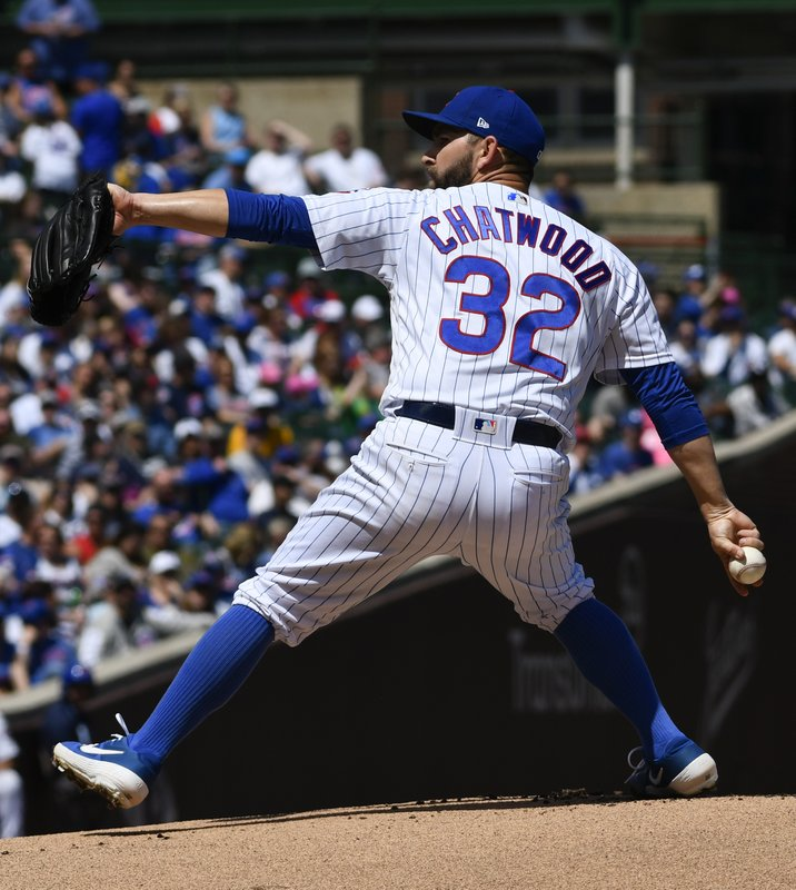 Chicago Cubs starting pitcher Tyler Chatwood (32) delivers during the first inning of a baseball game against the Arizona Diamondbacks Sunday, April 21, 2019, in Chicago. (AP Photo/Matt Marton)