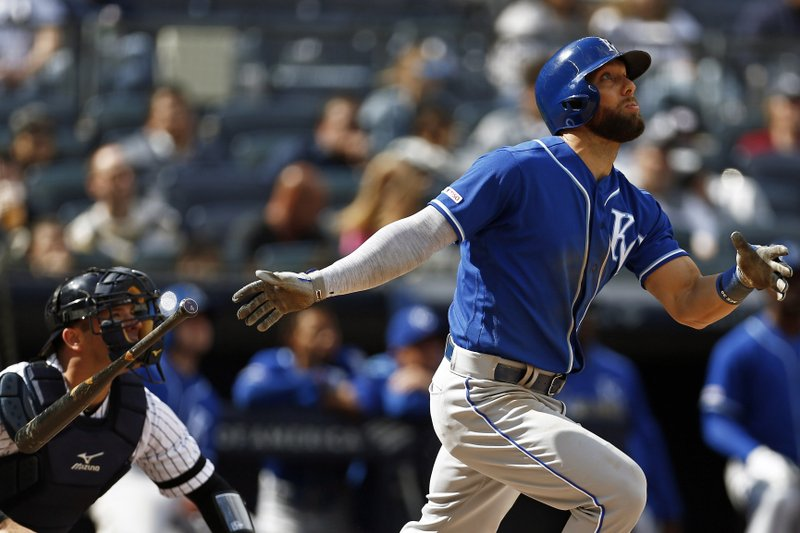 Kansas City Royals' Alex Gordon watches his three-run home run during the eighth inning of a baseball game against the New York Yankees on Sunday, April 21, 2019, in New York. (AP Photo/Adam Hunger)