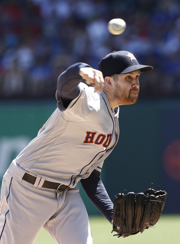 Houston Astros starting pitcher Collin McHugh delivers against the Texas Rangers during the first inning of a baseball game Sunday, April 21, 2019, in Arlington, Texas. (AP Photo/Mike Stone)