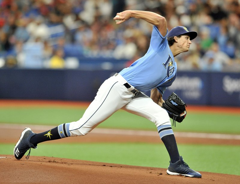 Tampa Bay Rays starter Tyler Glasnow pitches against the Boston Red Sox during the first inning of a baseball game Sunday, April 21, 2019, in St. (AP Photo/Steve Nesius)