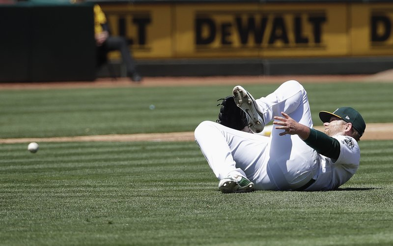 Oakland Athletics pitcher Brett Anderson reacts after being injured on an RBI-single by Toronto Blue Jays' Randal Grichuk during the third inning of a baseball game in Oakland, Calif. (AP Photo/Jeff Chiu)